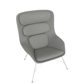 Striad Chair, High Back with Wire base, MCL Leather Grey, Wire, Trivalent Chrome