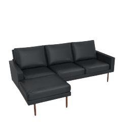Raleigh Sectional with Left Chaise, Walnut, Vienna Leather Ebony