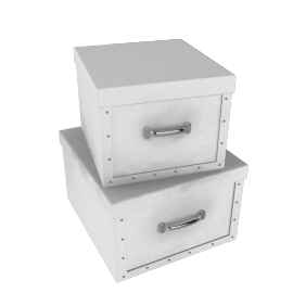 Square Storage Boxes, White, Set of 2