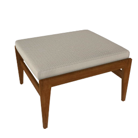 Jens Ottoman, Walnut, Cotton - Cream