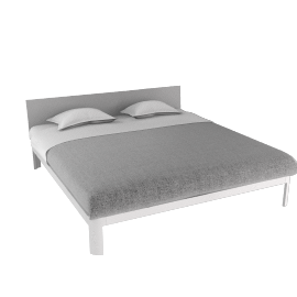 Min Bed w/ Plexi Headboard-King - White.Clear