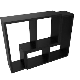 Inset Set of 2 Wall Shelf, Black