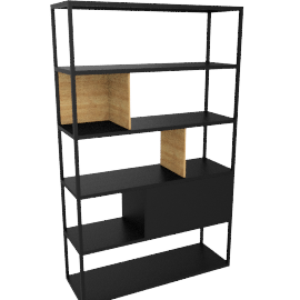 Kai Shelving Tall, Black/Oak