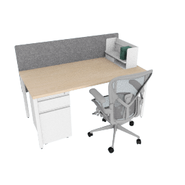 Advanced Bundle, Ash Desk Finish, Heathered Grey Screen