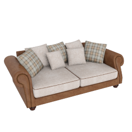 Wendy 3 Seater Beige and Caramel