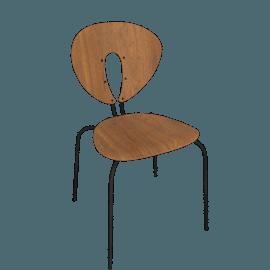 Globus Chair in Wood, Powder-Coated Frame