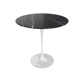 Saarinen Side Table - Coated Marble 1 - White.Nero