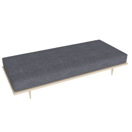 Nelson Daybed, Fabric: Pebble Weave Color: Ash.Pumice Leg: Taper