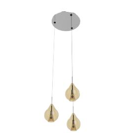 Alfecca 3 Lites Glass Pendant-25X13X120Cmh-Amber