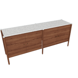 Morrison Credenza, walnut with Carrara top