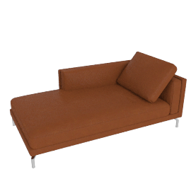 Como Chaise in Leather, Right, Canyon
