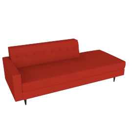 Bantam Studio Sofa, Left in Basket Fabric - Crimson.Walnut