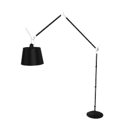 Tolomeo Mega Floor Lamp, Black Finish, Black
