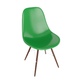 Eames Molded Fiberglass Dowel-Leg Side Chair (DFSW), Green with Chrome Base and Walnut Leg