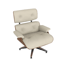 Eames Lounge Chair, Walnut Shell with Ivory Vicenza Leather
