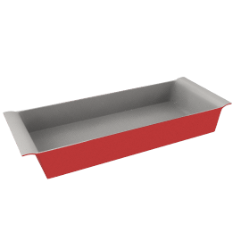 Ceramic Rectangular Dish, Red Lacquer, L36cm