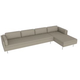 Bolster Sectional Chaise Right Facing, MCL Leather - Stone