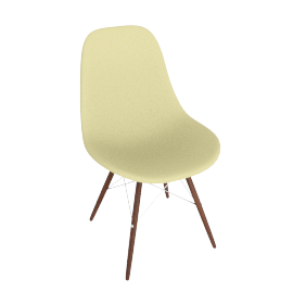 Eames Molded Plastic Dowel-Leg Side Chair (DSW), Pale Yellow with Chrome Base and Walnut Leg