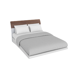 Alexis 155x205 Bed, HG Light Grey/Walnut