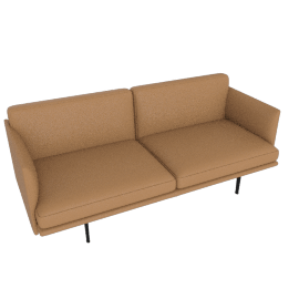 Outline Two-Seater Sofa, Prescott Leather - Saddle