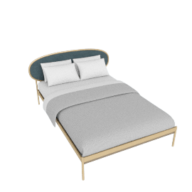 Asare King Size Bed, Brass/Marine Grey Velvet