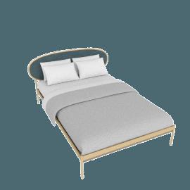 Asare King Size Bed, Brass/Marine Grey Velvet