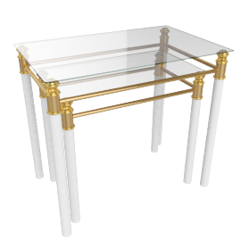Cameo Nest of Table, Gold/White