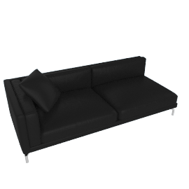Como One-Arm Sofa in Leather, Left, Black