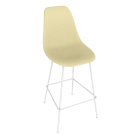 Eames Molded Plastic Barstool, DSHBX, Pale Yellow with White Base