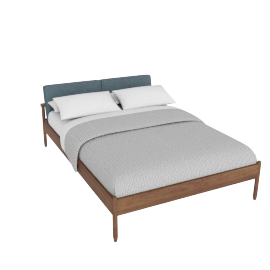 Raleigh Full Bed, Ducale Wool Robins Egg Walnut Frame
