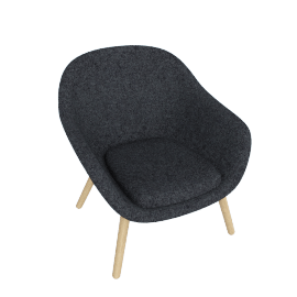 About A Lounge 82 Armchair, Low Back, Divina Melange 170 Dark Grey / Oak
