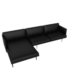 Outline Sectional with Left Facing Chaise, Prescott Leather - Black
