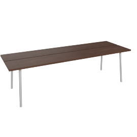 Run 96'' Table, Walnut Top Aluminum Base