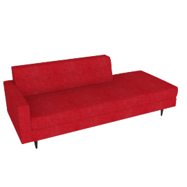 Bantam Studio Sofa, Left in Basket Fabric - Crimson.Coffee