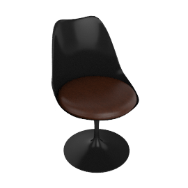 Saarinen Tulip Armless Chair - Volo Leather - Black.Choco