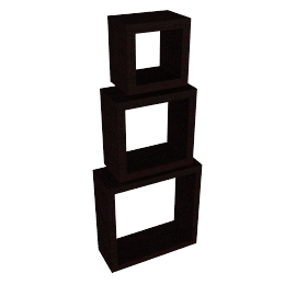 Geo Open Cube Shelves, Set of 3, Chocolate
