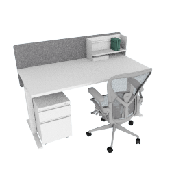 Ergonomic Advanced Bundle, White Frame, Heathered Grey Screen