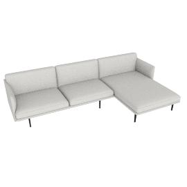 Outline Sectional with Right Facing Chaise, Maharam Mode - Shell