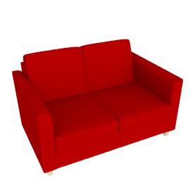 Portia Small Sofa, Fraser Crimson Red