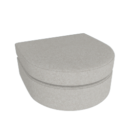 Bevel Sofa Group Rounded Ottoman, Noble Fabric Heathered Grey with Ebony Leg