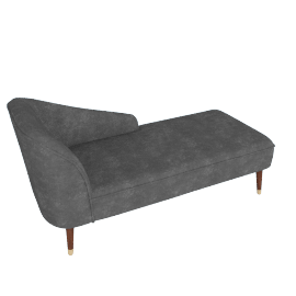 Margot RHF Chaise, Pewter Grey Velvet