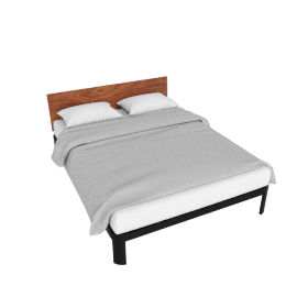 Min Bed with Wood Headboard, Queen, Black frame - Walnut Headboard