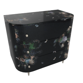 flowers in the night, curved chest of drawers by fornasetti