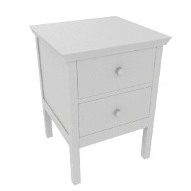Wilton 2 Drawer Bedside Cabinet, White