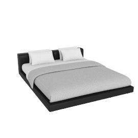 Softwall Cal. King Bed in Leather, Leather Black