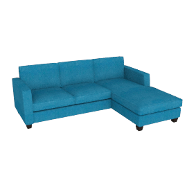 Portia LHF Chaise End Sofa, Teal / Dark Leg