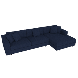 Reid Sectional Chaise Right with 4'' Tubular, Pebble Weave - Lapis