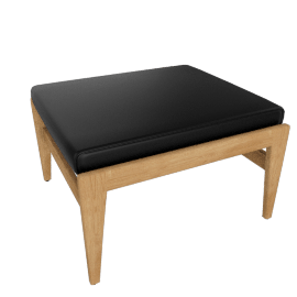 Jens Ottoman, Oak, Elmosoft Leather - Black