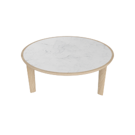 Port Coffee Table, Carrara Top Oak Base