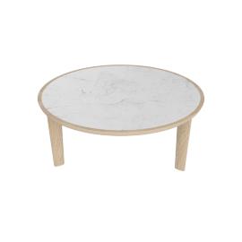 Port Coffee Table, Carrara Top Oak Base